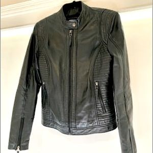 Emporio Armani Jeans Black soft leather jacket.